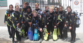 accommodation for pupils and teachers on a school dive trip